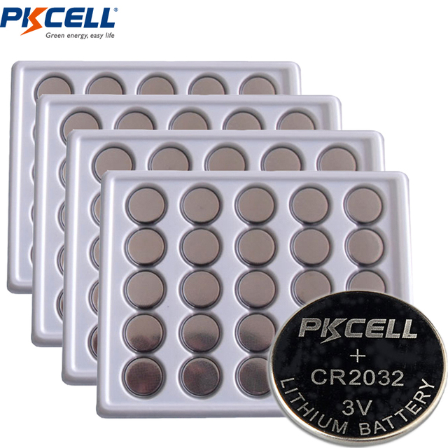 100Pcs PKCELL Battery CR2032 3V Lithium Button Batteries BR2032 DL2032 ECR2032 KL2032 15004L L14 SB-T51 Button Battery for Watch