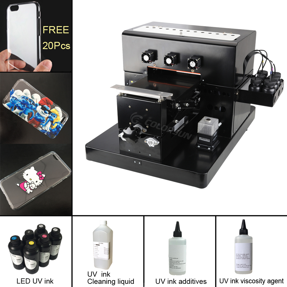 Upgrade A4 Small size UV Printer Golf UV Flatbed Printer for Phone Case, T-shirt, leather,TPU phone case printer with UV ink 2018 phone case uv printer a4 size uv printer led uv flatbed printer for phone case leather tpu with rip software with ink