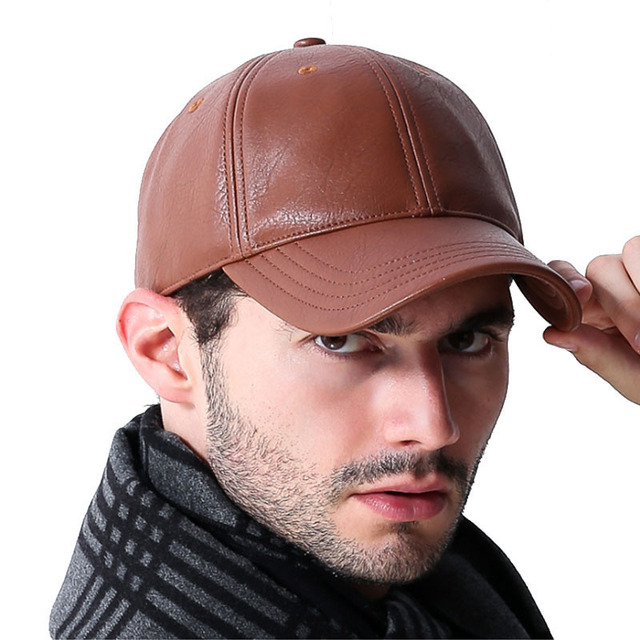 Leather Styled Baseball Cap Men Classic