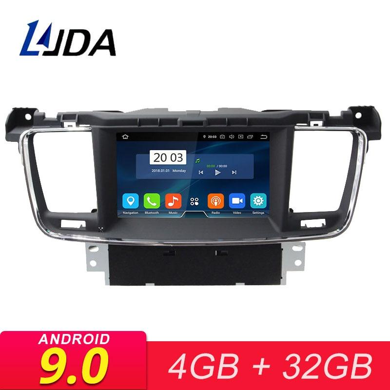 LJDA Android Leitor Multimédia 9.0 Carro Para PEUGEOT 508 2011-2017 Navegação GPS 2 Rádio Do Carro um Din 4G + 32G WI-FI Estéreo DVD CD de Vídeo