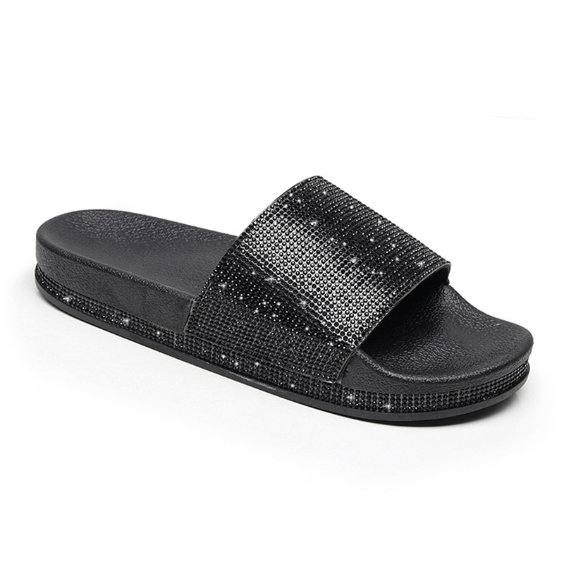 2018 New Arrival Women Slippers Rhinestone Sandals Spring Summer Slides  Home Beach Slippers Flat Platform Shoes Woman Flip Flops-in Slippers from  Shoes on ... 84c3435b10b9
