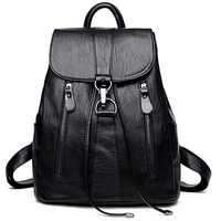 FGGS Leather Backpack Woman Fashion Female Backpack String Bags Large Capacity School Bag