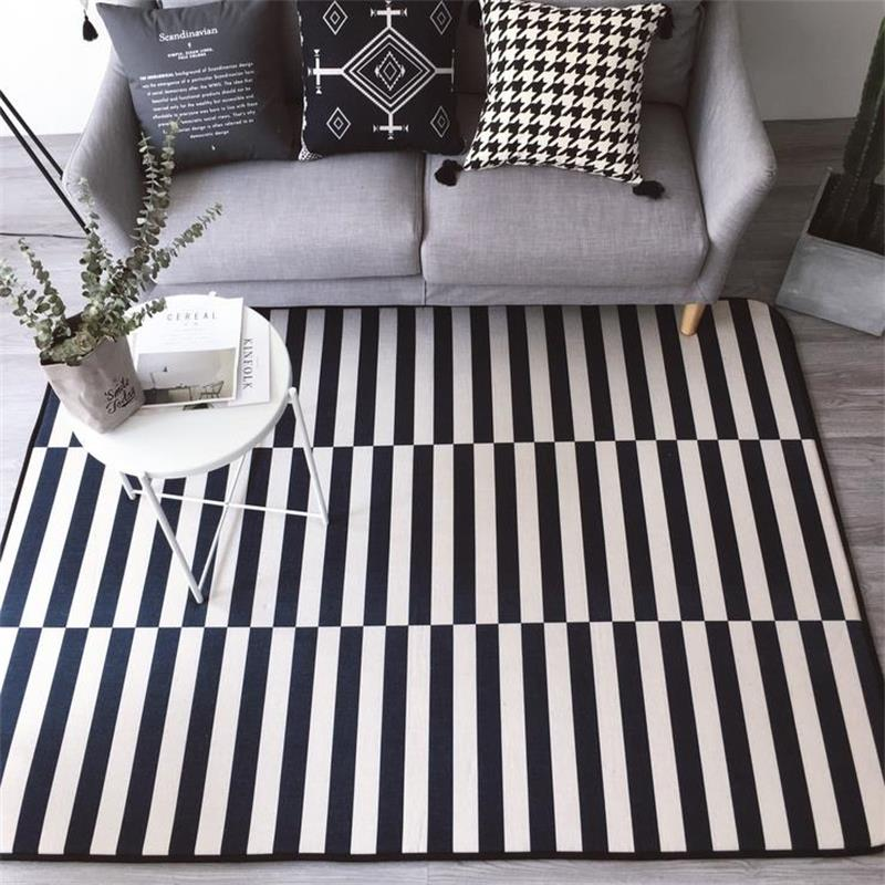 145X195CM Cotton Linen Cloth Carpets For Living Room Home Bedroom Rugs And Carpets Modern Coffee Table Floor Mat Kids Play Rug