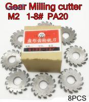 M2 Modulus PA20 graden NO.1-NO.8 8 stks/set HSS Versnelling frees Gear snijgereedschap Gratis verzending
