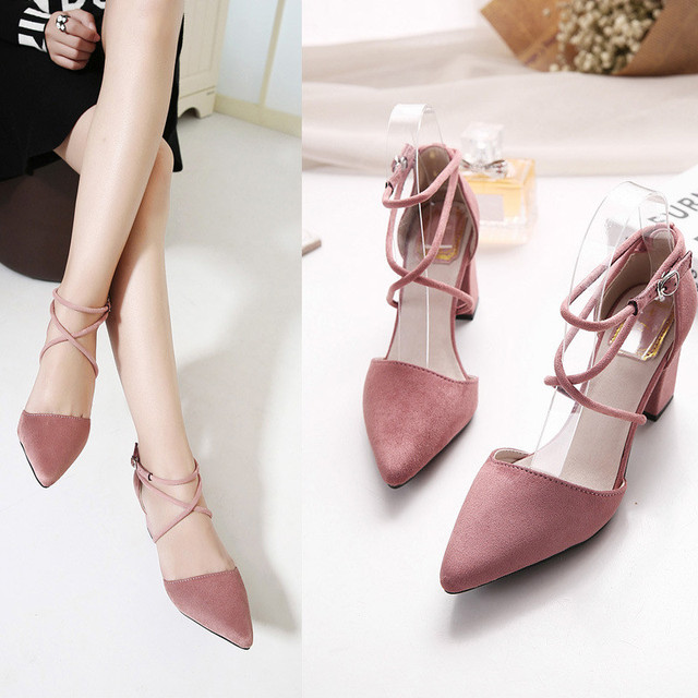2016 New High Heel Shoes Pointed Toe Cross straps 3 Color Fashion Elegant Chunky Heel Women Pumps HSB10