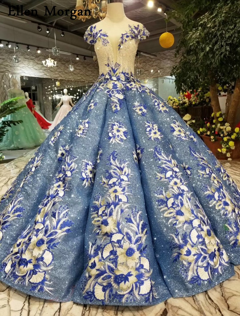 Glitter Backless Ball Gowns Wedding Dresses 2019 Lace Embroidery Beaded Corset Floor Length Cap Sleeves Bridal Gowns For Women