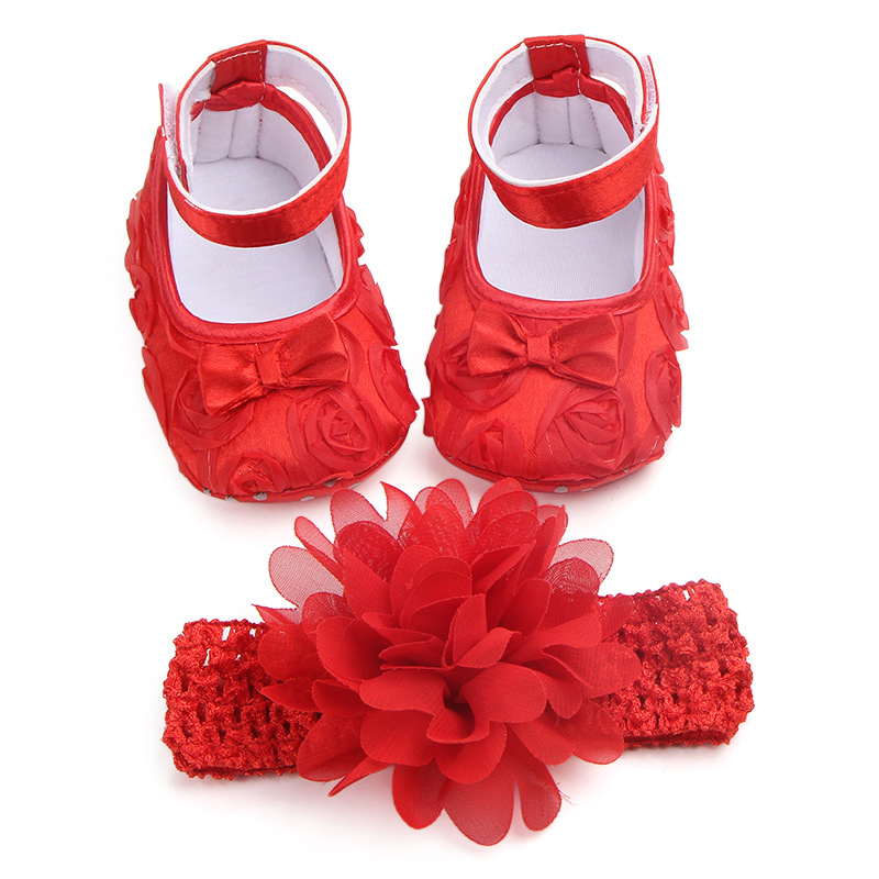 Baby Girl Newborn Shoes Spring Summer Sweet Lace Flower Mary Jane Big Bow Dance Ballerina Dress Pram Crib Shoe Headband Set