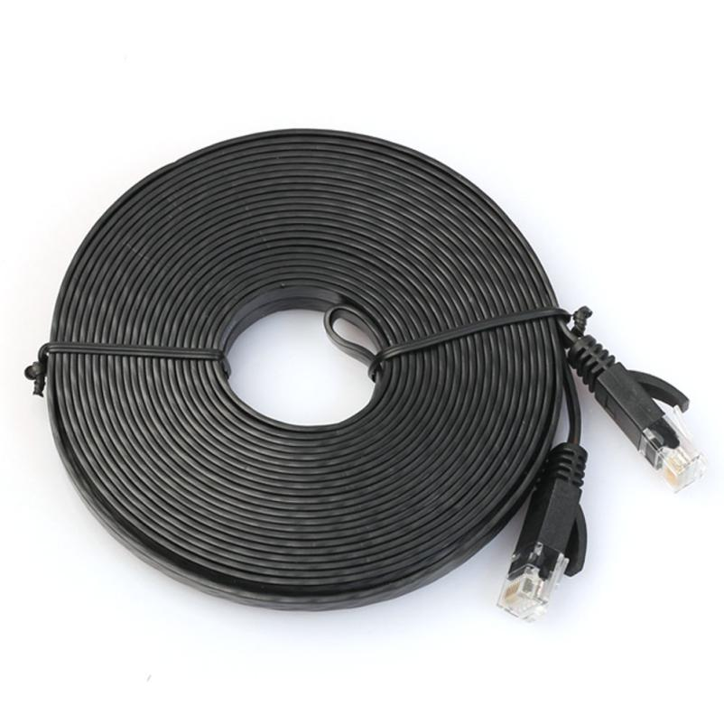 High Quality Flat Cat6 Network Ethernet Patch Cable Modem Router RJ45 Stranded Twisted Pair Cables Jumper for LAN Network Aug10 cat 6e rj 45 stranded network cable 3m