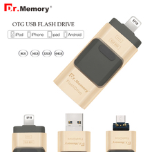 USB FLASH DRIVE OTG 64GB Pen Drive 3 in 1 u disk for apple iphone 6s Memory stick 16gb luxury android USB 2.0 pendrive i drive