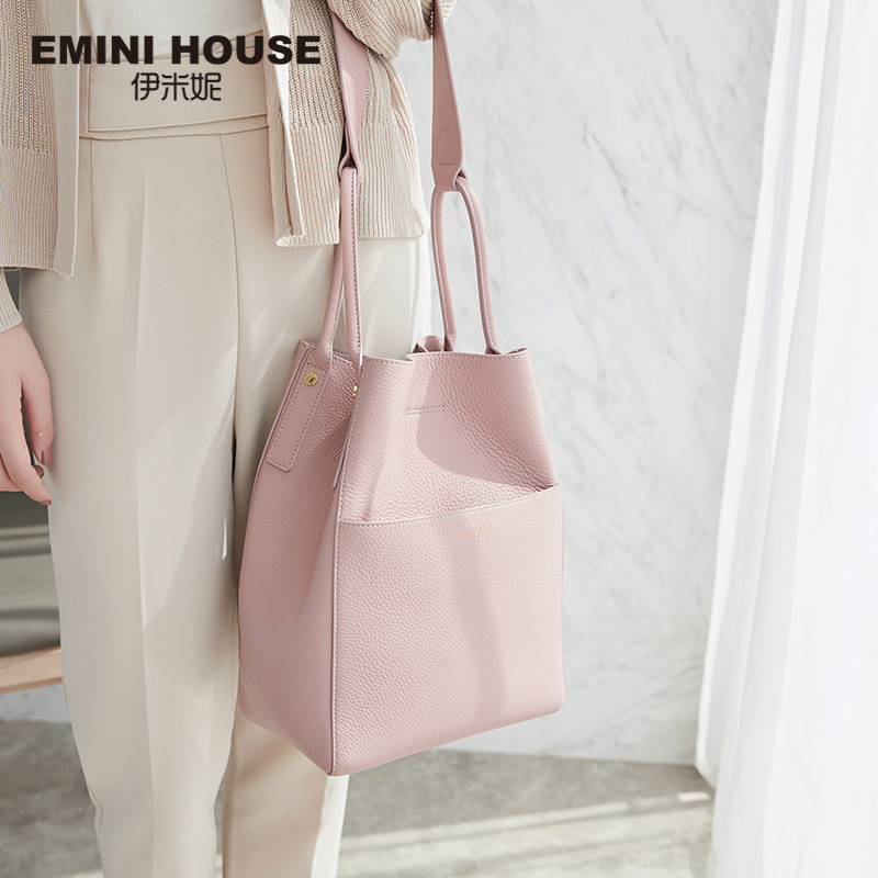 EMINI HOUSE Genuine Leather Bag Women Shoulder Bucket Bag Messenger Bags handbags women famous brands Roomy ladies Handbags Bags 100% genuine leather women bags famous brand women messenger bags first layer cowhide shoulder bags women ladies handbags