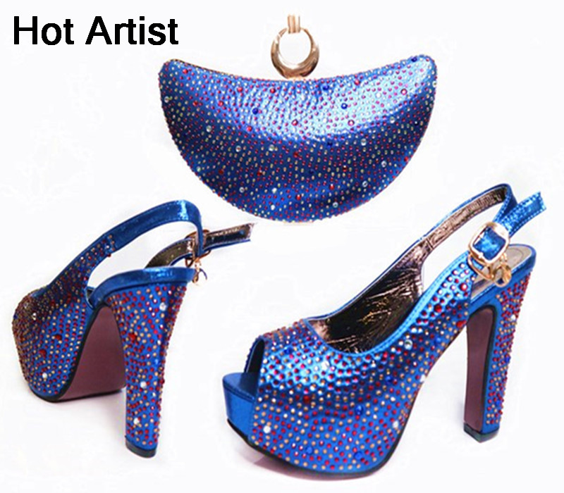 Hot Artist European Design Crystal Shoes And Evening Bag Set Italian Fashion Women High Heels Shoes And Bag For Party Dress G34