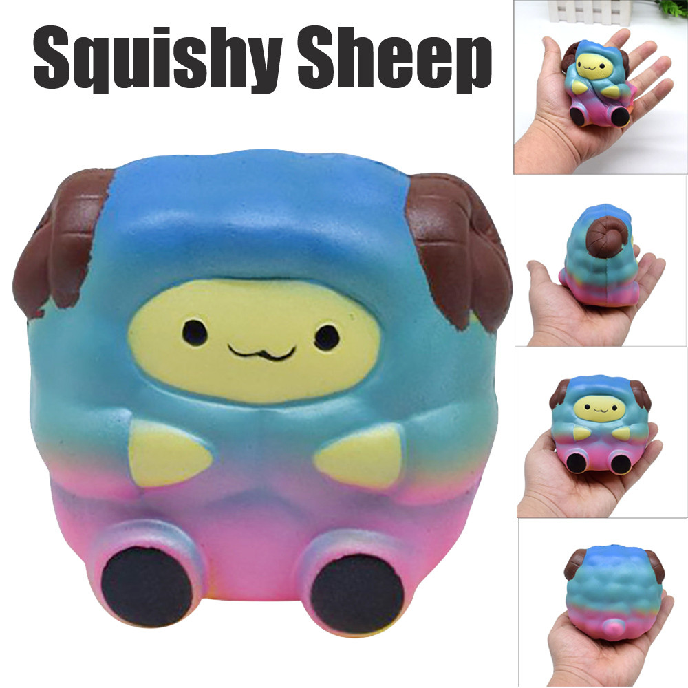 ISHOWTIENDA Starry Sky Colour Squee Soft Sheep Cartoon Squishy Slow Rising Squeeze Toy Cartoon Cute Squishy prank#25