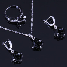 Silky Quadrilateral Black Cubic Zirconia 925 Sterling Silver Jewelry Sets For Women Earrings Pendant Chain Ring V0974