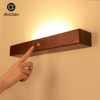 Aisilan Nordic Modern Wooden Wall Lights for living room Bedroom Corridor reading mirror art work Wall lamp for home 90 260V
