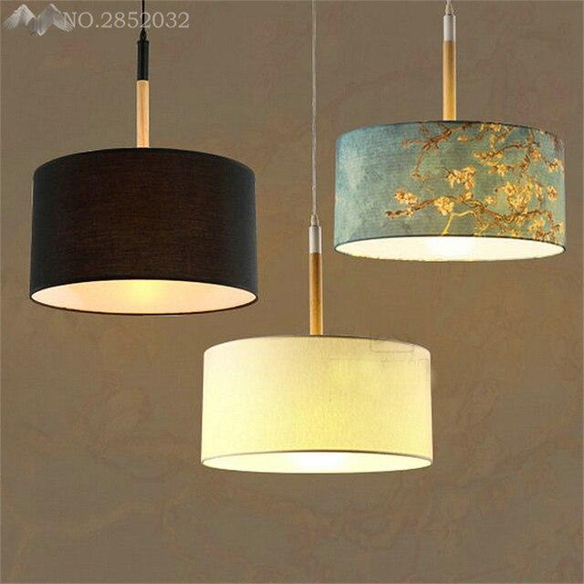 JW New Retro Vintage Rustic Lamp Fabric Iron Lustre Pendant Light Loft  Pendant Lamps Home Decorative