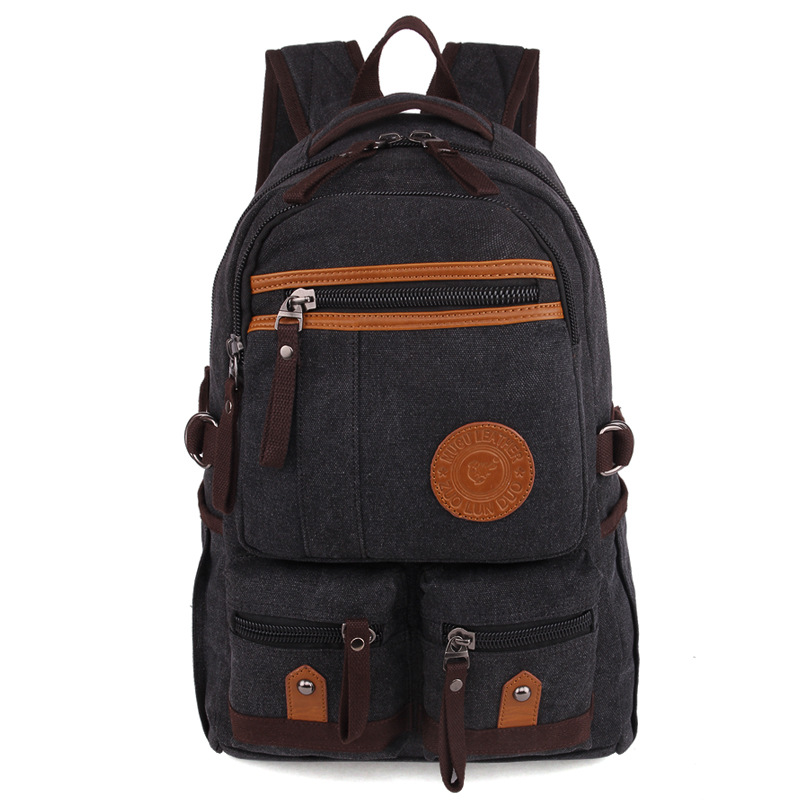 Vintage Canvas Backpack Travel Casual Leather Bags for Women and Men Bookbag for Teen Girls and Boys Mochila Retro Back Pack top hot cow leather canvas backpack women vintage backpack casual travel men backpack climbing bag for girls boys