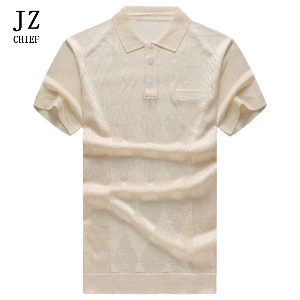 JZ CHIEF Men Silk   Polo   Shirt Summer Short Sleeve Clothes 2018 Solid Color Breathable Argyle Poloshirt Blouse Tops Knitted   Polos