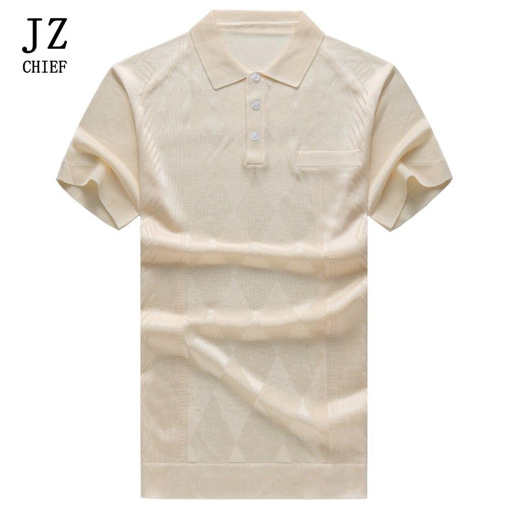 JZ chef hommes soie Polo chemise d'été à manches courtes vêtements 2018 couleur unie respirant Argyle Poloshirt Blouse hauts tricoté Polos