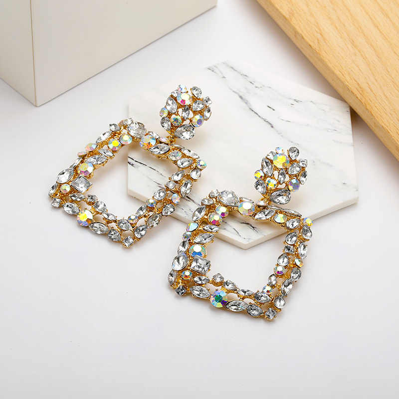 Large Square Dangle Earrings For Women Charm Vintage Gold Color Fashion Crystal Drop Earring Bohemian Bride Jewelry