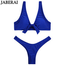 b41045366086a5 JABERAI sexy strik bikini set 2019 vrouwen push up badmode blauw effen  badpak thong bottom braziliaanse bikini strand badpak