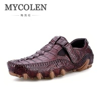 MYCOLEN New Crocodile Pattern Italian Luxury Dress Shoes Men Business Fashion Formal Shoes Zapatos De Gamuza Genuina Hombre