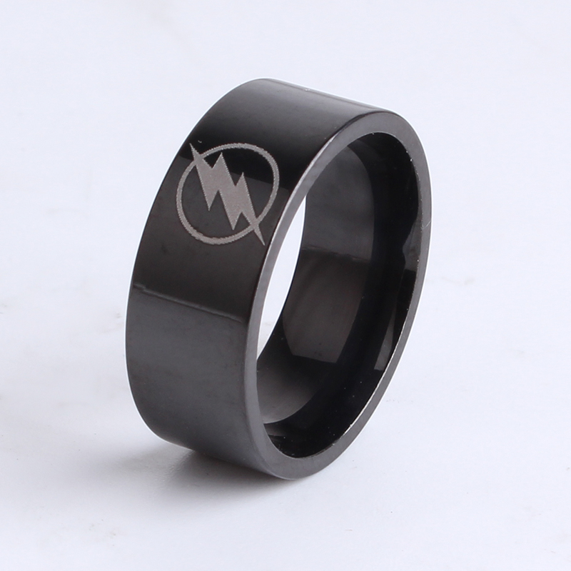 free shipping 8mm Black Flat Thor Lightning 316L Stainless Steel finger rings for women wholesale
