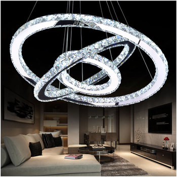 Hot sale Diamond Ring LED Crystal Pendant Light Modern LED bar decor Lighting Circles Hanging Lamp 100% Guarantee