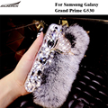 Saunorch Brand New Furry Shell Crystal Rex Rabbit Fur Back Case Plush Diamond Covers For Samsung Galaxy Grand Prime G530 5.0''