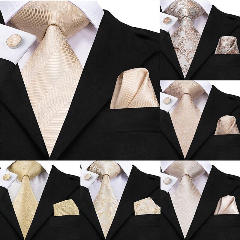 Champagne Ivory White Solid Tie 100% Silk Woven Men Tie Plain Necktie Hanky Cufflinks Set Wedding Classic Pocket Square Tie