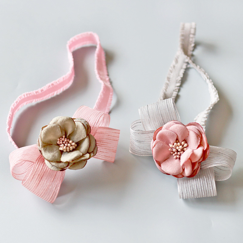 New Korean Pink Gray Flowers Hairbands Girls Headwear Children Headbands Elastic Hair Band Kids Hair Accessories bebe girls flower headband four felt rose flowers head band elastic hairbands rainbow headwear hair accessories