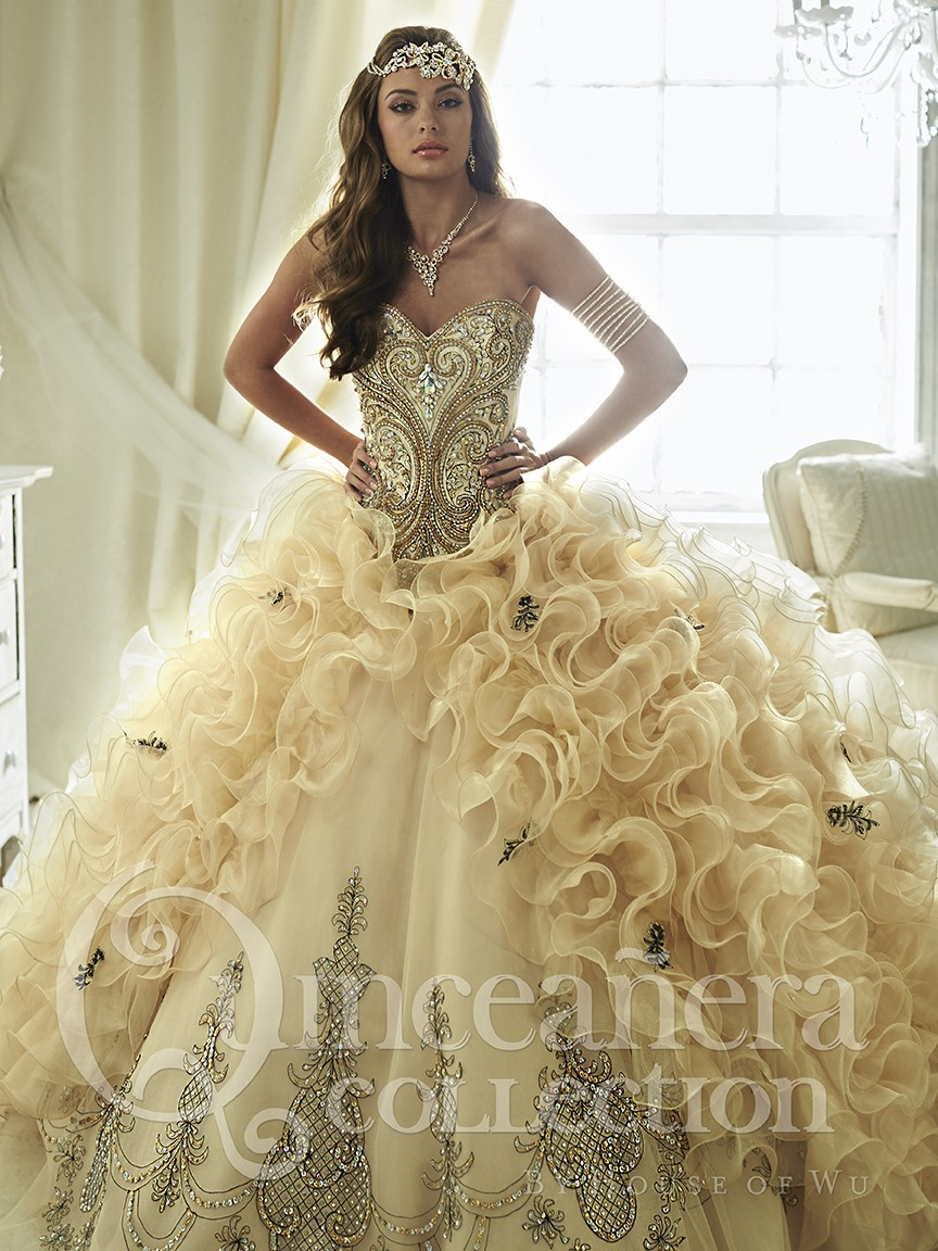 Romantic 2016 Champagne Brown Embroidery Sweetheart Quinceanera ...