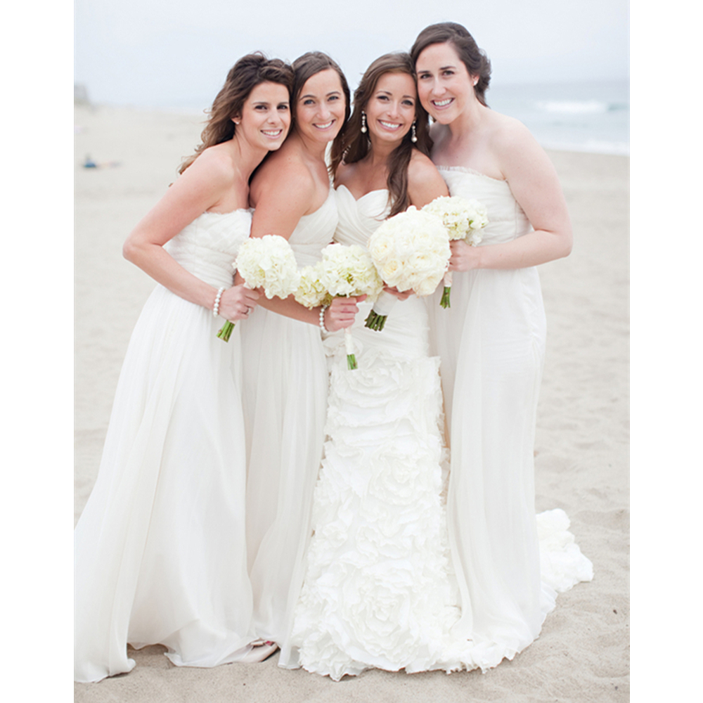 Hot Selling White Long Bridesmaid Dresses Simple A Line Pleat Chiffon Floor Length Beach Wedding Party Gowns Cheap 2019