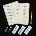 Microblading Maquillaje Pluma Manual Del Tatuaje + Pigmento Ceja ceja Negro + Piel de La práctica 12 14 18 Agujas Kits Para 3D Tebori
