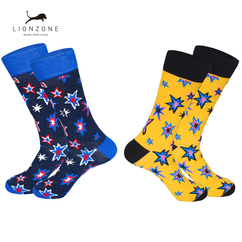 Brand Combed Cotton Mens Happy Socks Explosion Star Stripes Novelty Wedding Design Colorful Men Socks Buy 3Lots Get 1Pair Free