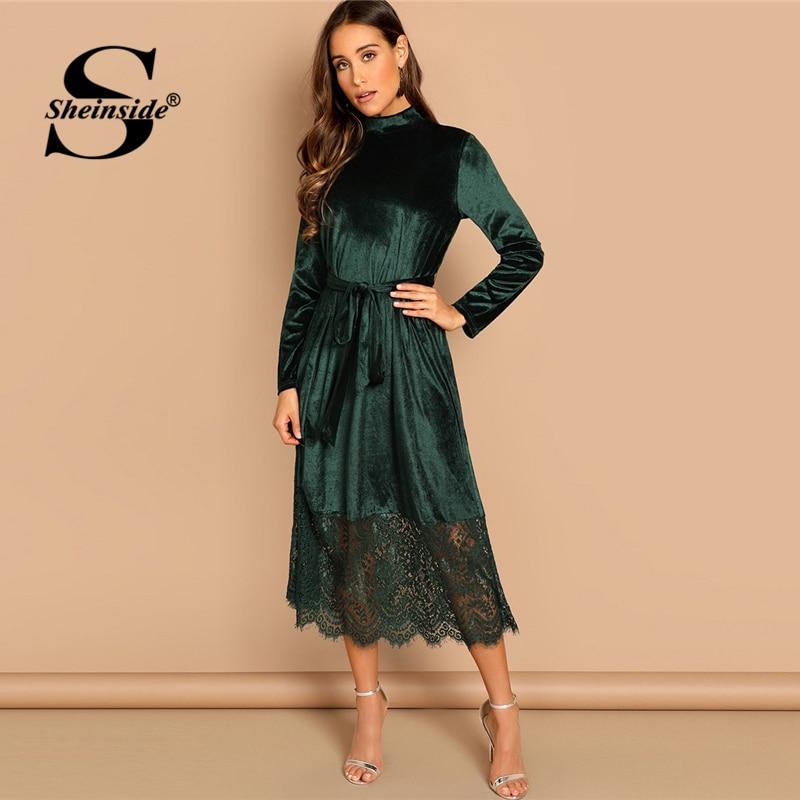 Sheinside зеленый талии поясом Mock-Neck Вельветовое платье Для женщин Повседневное платья с длинным рукавом 2019 Осень Прямые, длинное платье