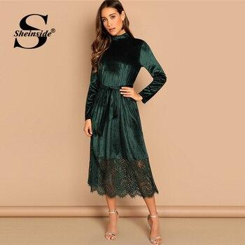 Sheinside vert taille ceinturée col en velours robe décontracté manches longues robes 2019 automne droite dames solide longue robe