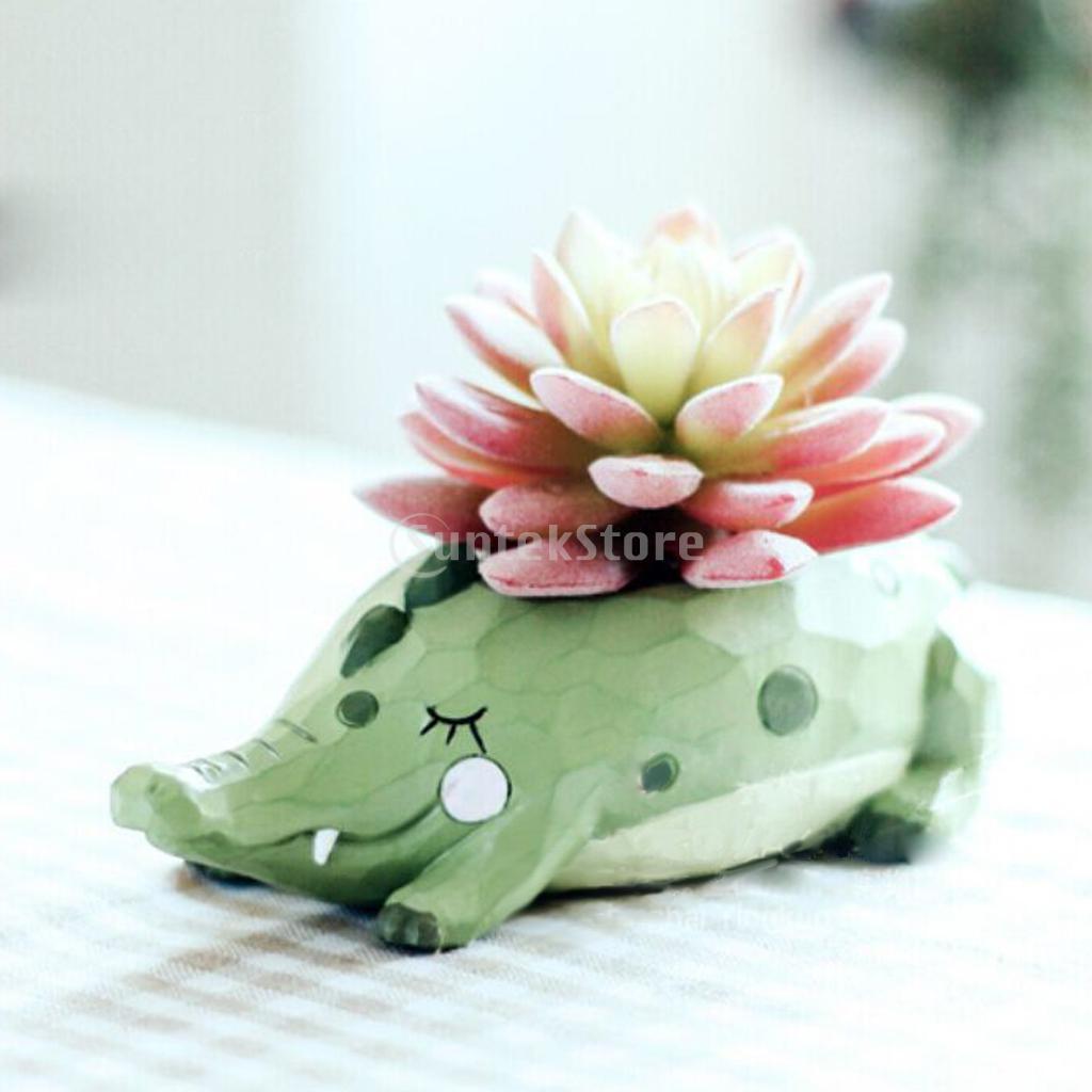 Resin Crocodile Flower Pot Sedum Succulent Herb Planter Bed Pot Box Case Kids