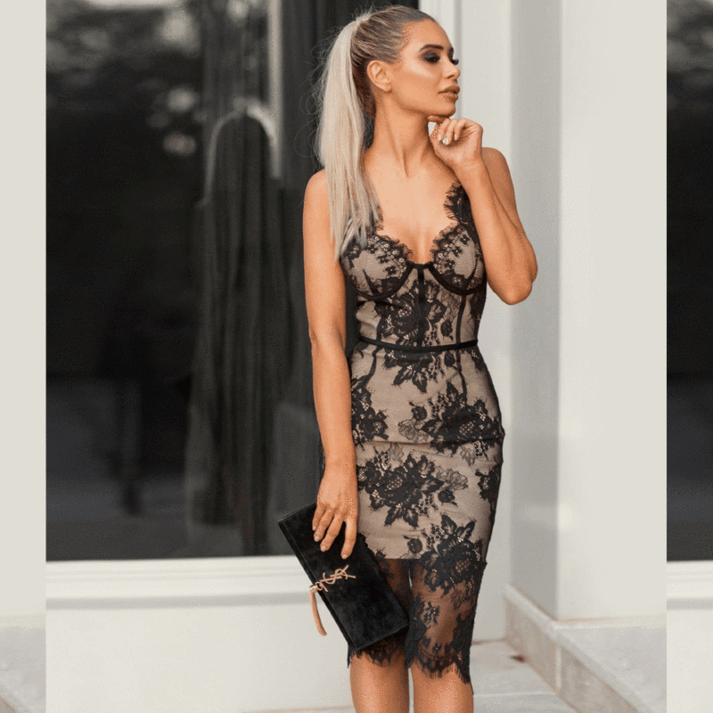 Summer Women Wrap Dress Laces Embroidery Floral V Neck Middle Black Bodycon Backless Sexy Spaghetti Strap Splicing Dresses in Dresses from Women 39 s Clothing