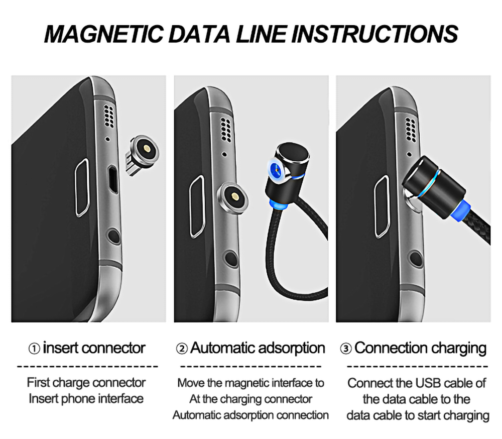 iphone cable magnetic cable for Android Apple Type-C magnetic blind blind suction nylon round magnetic micro usb cable 10