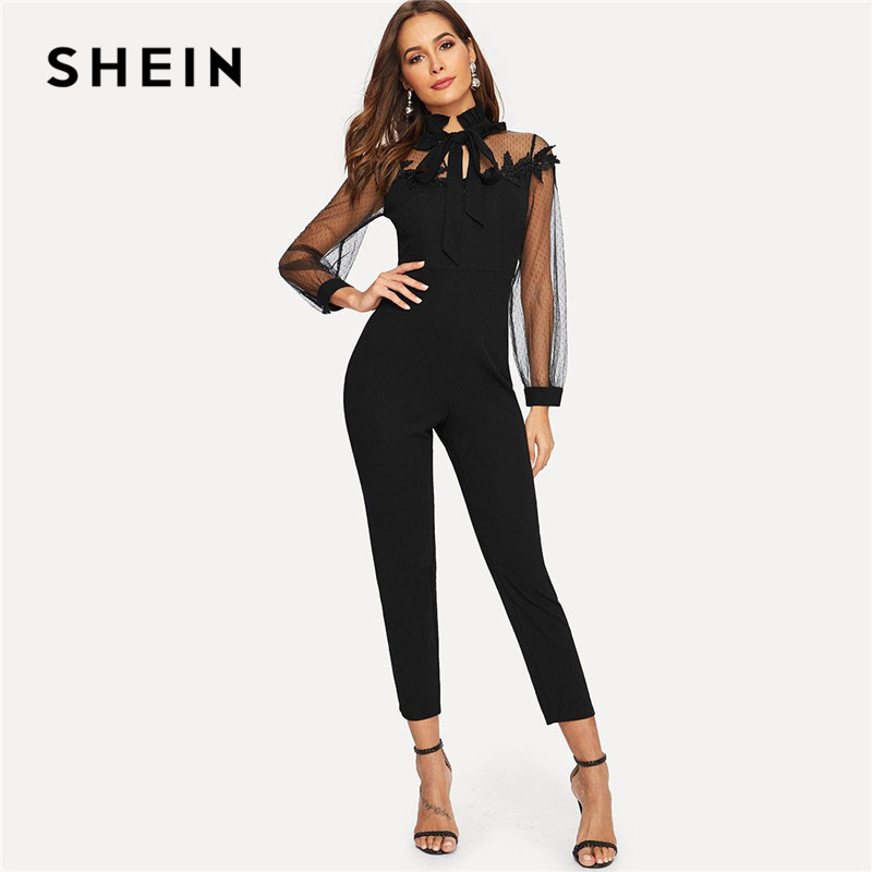 SHEIN Black Mesh Insert Lace Yoke Applique Frilled Neck Elegant Women   Jumpsuit   Spring Office Lady Solid Stand Collar   Jumpsuits