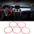 Red Air Vent Outlet Cover Ring For Benz A-Class W176 2013-2015 B-Class W246 2012-2015 5pcs