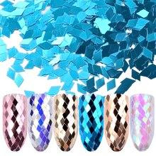 6pcs/set Holo Sparkling Diamond Nail Sequins 3d Ultra-thin Rhombus Paillette Sticker Tips Colorful Glitter Art Decoration