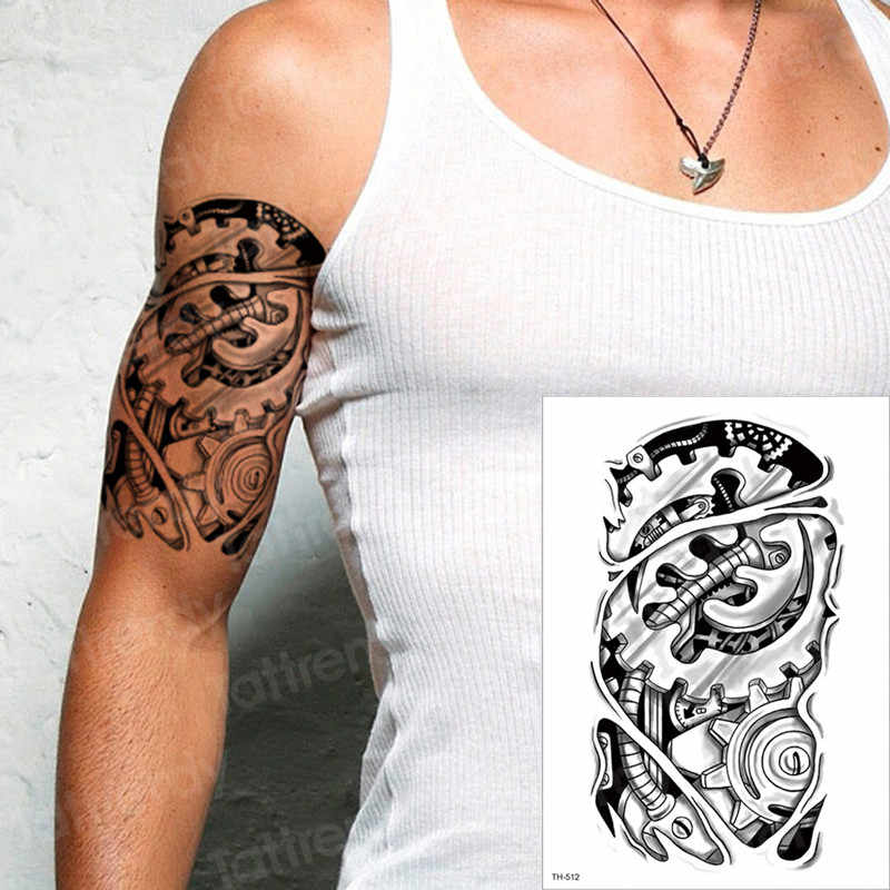 Mechanical Tattoos Temporary Tattoo Waterproof Machine Tatoo Halloween Sex Robot Machine Tattoo Boys Men Arm Tatoo Sleeves Tatto