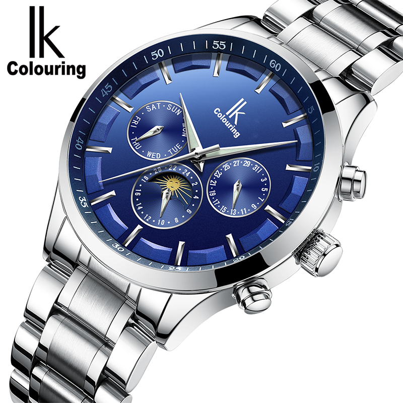 IK Genuine New Fashion Automatic Self-Wind Men Watches Full Steel & Genuine Leather Moon Phase Multi-Functional Luxury Watch Men original binger mans automatic mechanical wrist watch date display watch self wind steel with gold wheel watches new luxury
