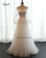Alluring Tulle Scalloped Neckline A Line Wedding Dress Appliques New Arrival Contrast Color Vestido De Noiva