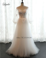 Alluring Tulle Scalloped Neckline A Line Wedding Dress Appliques New Arrival Contrast Color Vestido De Noiva