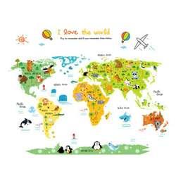 Мультфильм мир географические карты ПВХ DIY самоклеющиеся виниловые наклейки на стену Наклейка росписи для детей спальня домашний декор