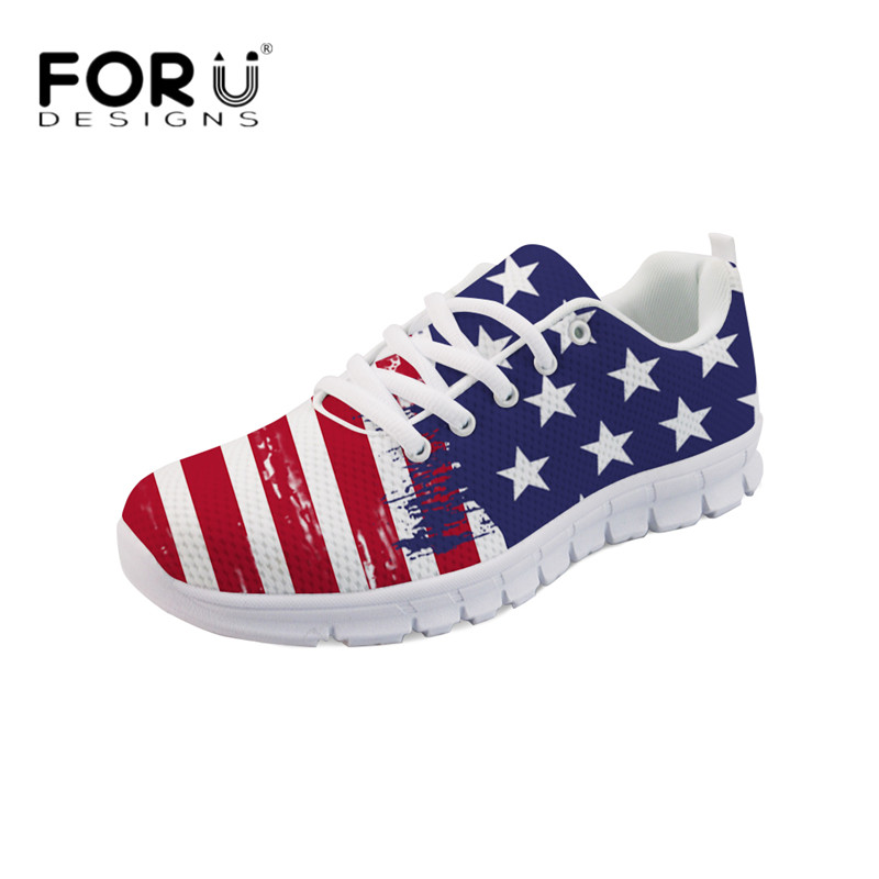 FORUDESIGNS Brand Women Casual Flats 3D USA Flags Design Comfortable Light Mesh Sneakers for Students Girls Lace-up Flat Shoes instantarts fancy flamingos women flat sneakers comfortable spring woman casual lace up flats air mesh breathable students shoes