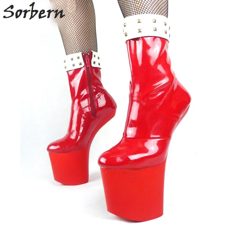 Sorbern Sexy Size 10 Women Boots Quality Boots For Women Runway Shoes Heelless Dance Platform Short Boots 2018 New Custom Colors