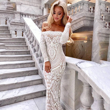 Off Shoulder Mesh Bodycon Sequin Dress